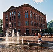 The fountian across from the  Wheeler Opera House is a popular destination in the summer and  only 2 blocks away from MCA